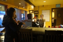 Brittanie talking to Kiersten at T&Ds. (Photo, Vanessa Tse)