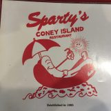 Sparty's Coney Island Restaurant logo is whimsical, featuring a personified hot dog. Photo by Alexa Seeger.