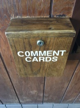 Sparty's Coney Island Restaurant has a comment box near the front door. It aims to improve customers' experience. Photo by Alexa Seeger.