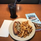Pictured here is Zeus' Coney Island coney, with onion and chili, ordered without mustard. Photo by Laura Bohannon.